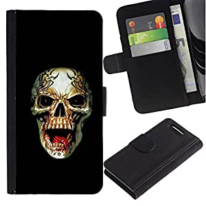 KingStore / Leather Etui en cuir / Sony Xperia Z1 Compact D5503 / Rogue Heavy Metal Skull Rock Negro
