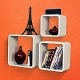 SLS Vision. Set of 3 Floating Decorative Round Corner Square White Wall Shelves. W02