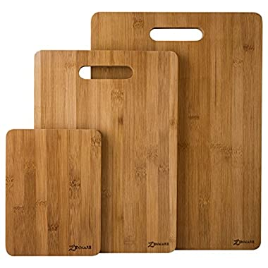 ZenWare 3 Piece All Natural Lightweight Large Bamboo Cutting Board Set