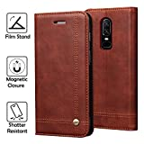 OnePlus 6 Case, REAL-EAGLE Oneplus 6 Wallet Case,OnePlus 6 Premium PU Leather Wallet Protection Case with [Kickstand] [Card Slots] [Magnetic Closure] for OnePlus 6 2019 (Coffee)