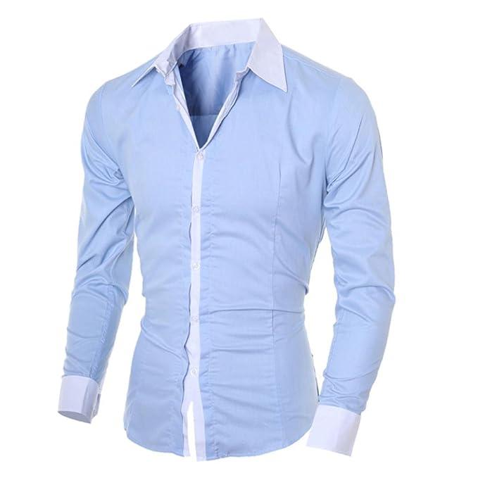 OHQ Camisa De Manga Larga para Hombre Negro Blanco Azul Gris Rosa Casual Delgado Personalidad Blanca