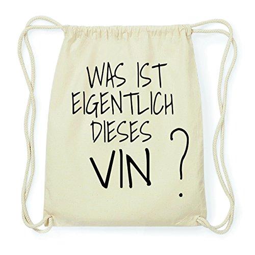 JOllify VIN Hipster Turnbeutel Tasche Rucksack aus Baumwolle - Farbe: natur Design: Was ist eigentlich