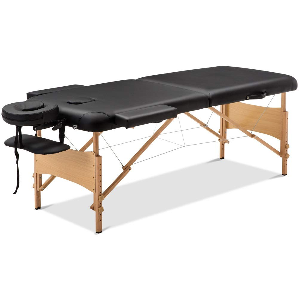 Massage Table Massage Bed Spa Bed 84'' Long 2 Folding Portable Massage Table with Carry Case Heigh Adjustable Salon Bed Face Cradle Bed by Cozyhome Bestone