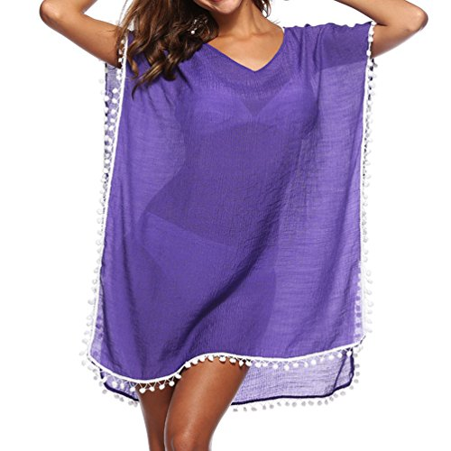 - PTmonkey Women's Casual Beach Outfit Kaftan Poncho Elegant Chiffon Dress with Tassel (Deep Purple) Compact Daily Easy Girls in Marine Type Slender Plain Design Skinny Muumuu Separate Summer Cover Ups