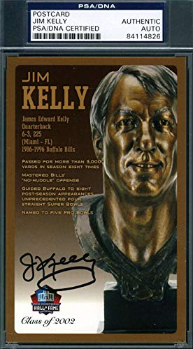 JIM KELLY PSA DNA Coa Autograph HOF Bronze Bust Postcard Hand Signed