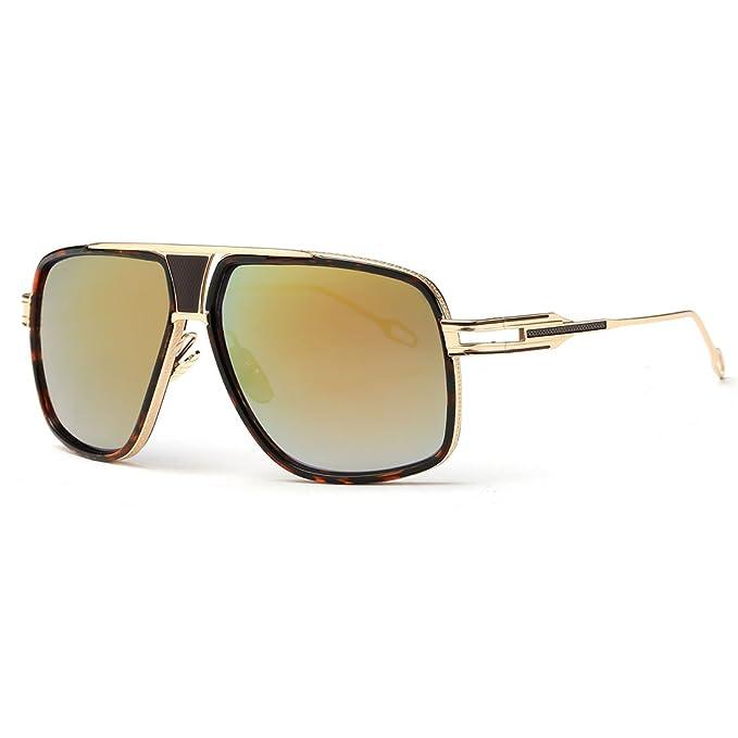 26023dffa5 kimorn Gafas De Sol Para Hombres Retro Mirada Sorprendida Metal Marco  Clásico AE0336 (Carey&Oro,