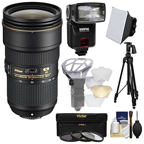Nikon 24-70mm f/2.8E VR AF-S ED Nikkor Zoom Lens with Flash + Diffuser + Soft Box + 3 Filters + Tripod + Kit (Nikon 70 200mm F 2-8 Ed Vr)