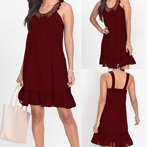 Minisoya Women Lace Patchwork Hollow Out Sundress Casual Backless Evening Party Beach Dress Ruffle Sling Mini Dress (Wine, 2XL): Amazon.co.uk: Clothing