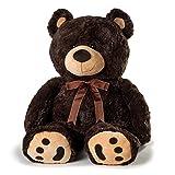 Joon Huge Teddy Bear with Ribbon, Dark Brown