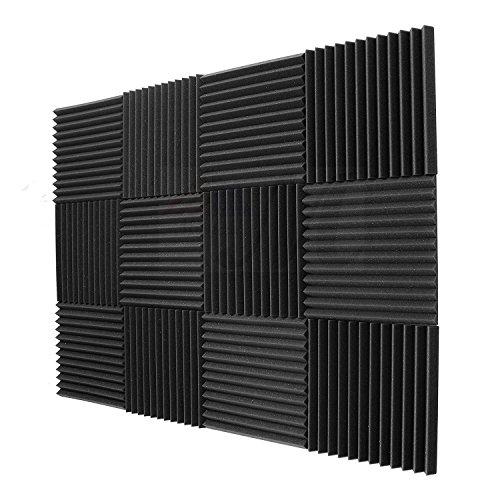 SODIAL 12 Pack- acusticos paneles de espuma de ingenieria Paneles cunas de esponja de aislamiento acustico 30 * 30 * 2.5cm