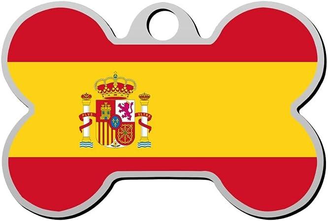 SeTag Bandera de España Etiqueta de Perro Mascota ID Etiquetas Cachorro Gato Hueso Forma de Aleación de Zinc Colgante Identidad Personalizado Suministros de Moda Doble Cara Impreso: Amazon.es: Hogar