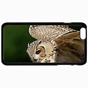 Fashion Unique Design Protective Cellphone Back Cover Case For iPhone 6 Plus Case Eagle Owl In Flight Black