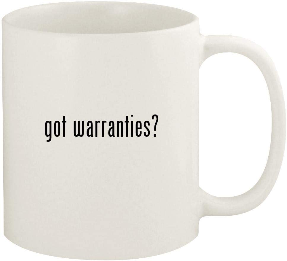 got warranties? - 11oz Ceramic White Coffee Mug Cup, White