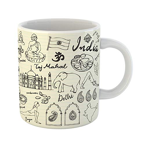 Emvency Coffee Tea Mug Gift 11 Ounces Funny Ceramic Yoga of India Doodle Hindu Indian Temple Gifts For Family Friends Coworkers Boss Mug -