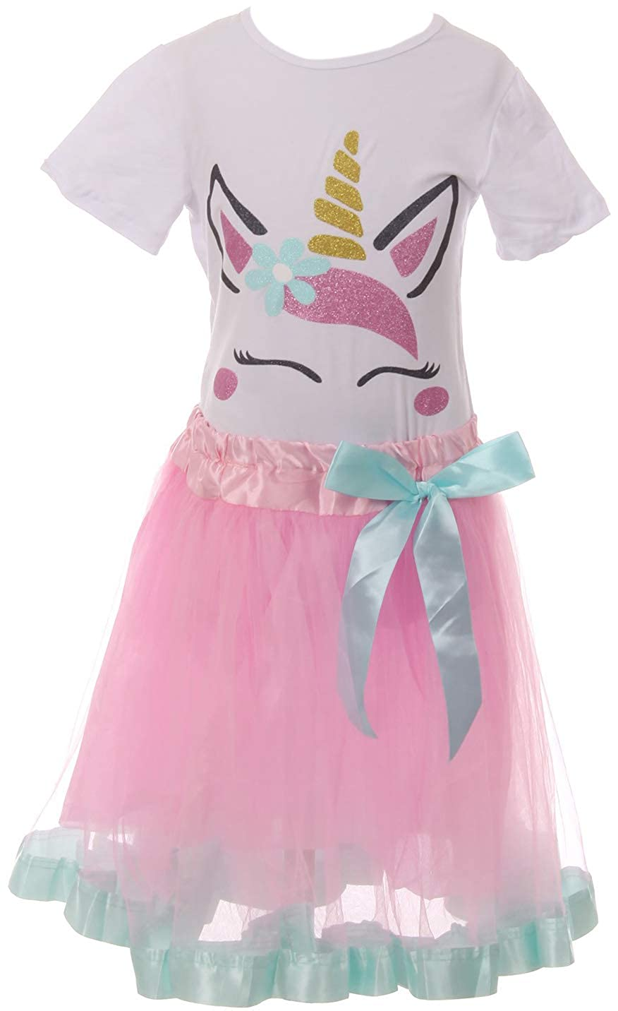 Little Girl 2 Pieces Combo Unicorn White Top Pink Tulle Lace Skirt Sets 2t-8