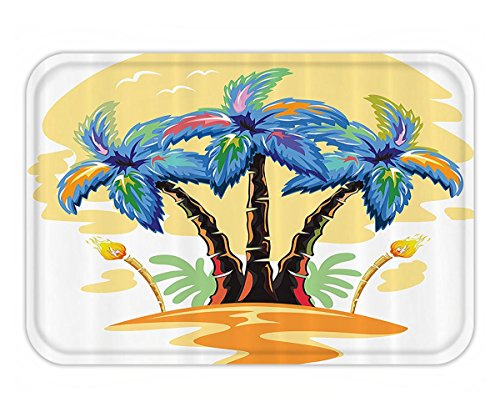 Blue Hawaiian Classic Fabric (Beshowere Doormat Palm Tree DecorTropical nd with Hawaiian Palm TreeTorch Seagullat Sunset Fabric Bathroom Decor Set with Hook Long Blue Orange.jpg)