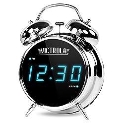 Victrola Classic Digital LED Twin Bell Alarm Clock, Chrome