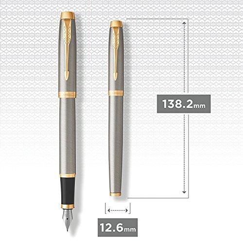 PARKER IM estuche con pluma estilográfica y bolígrafo de la colección British, metal cepillado con adornos dorados (2010765): Amazon.es: Oficina y papelería