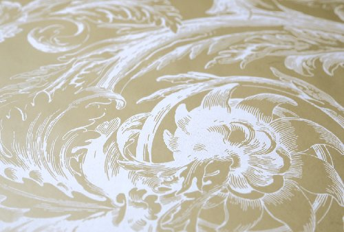 Valencia Beige and Off White RV9719 Raised Acanthus Leaf Wallpaper - Classic Acanthus Leaves Wallpaper