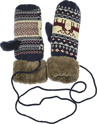 Hand By Hand Aprileo Knitted Gloves Mittens Faux Fur Lined Deer Mix String Cable [Navy.](One Size)
