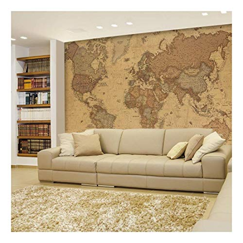 wall26 - Antique Monochrome Vintage Political World Map Wallpaper - Wall Mural, Removable Sticker, Home Decor - 66x96 ()
