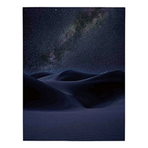 Satin Rectangular Tablecloth [ Space,Desert Sand Dunes in Milky Way Stars at Dark Solar Celestial Reflection over Earth Picture,Blue ] Dining Room Kitchen Table Cloth Cover