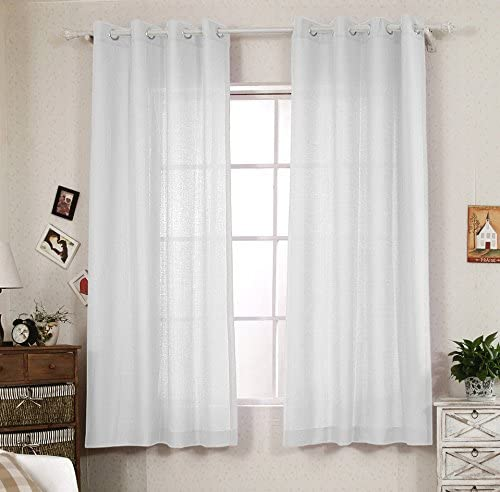 R.LANG Solid Grommet Top Faux Linen Window Panels for Livingroom 1 Pair Bleach White 90 W X 90 L Set of 2 Panels