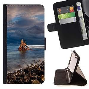 Momo Phone Case / Flip Funda de Cuero Case Cover - bereg kamni nebo Oblaka - HTC DESIRE 816