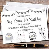 Greyscale Animals Childrens Birthday Party Invitations