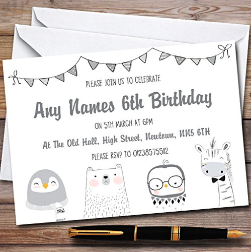 Greyscale Animals Childrens Birthday Party Invitations by The Card Zoo