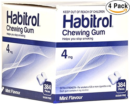 Habitrol Nicotine Gum 4mg Mint Flavor. 4 bulk packs of 384 (total 1536 pieces) ()