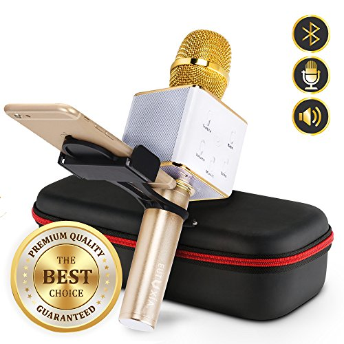 Eutuxia Wireless Karaoke Microphone + Smartphone Holder. Portable Entertainment System with Built-in Bluetooth Speakers & Mic. Handheld Karaoking Machine, Android & iOS Devices Compatible. [Gold]