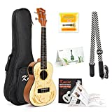Concert Ukulele Solid Spruce Electric Acoustic 23 inch Ukelele Guitar Uke Kit With Strap Tuner String Gigjavascript:; Bag Instruction Booklet for Beginner