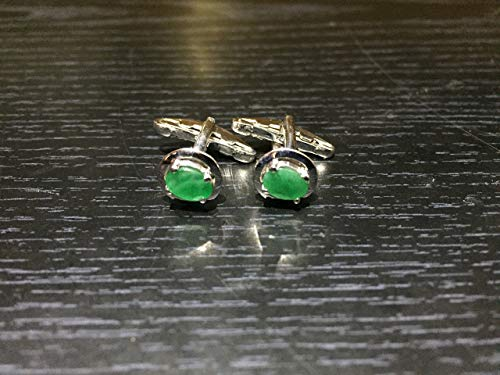 (925 Sterling Silver Emerald Cufflinks Genuine Stone Men Oval Cufflinks)