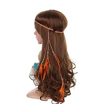 Indian Headband Hippie Feather Headband - AWAYTR Leather