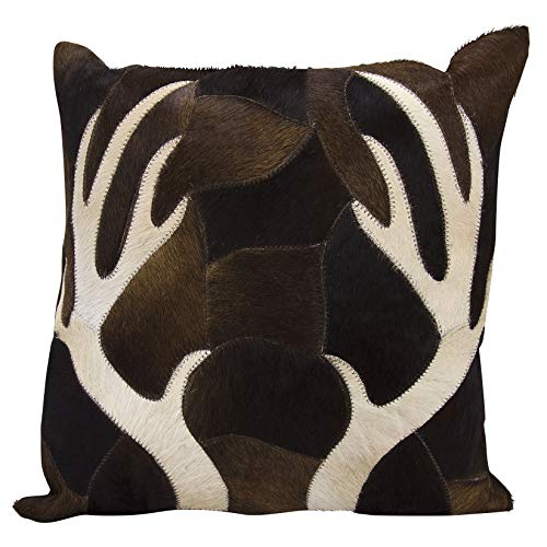 - Deer Antler Pillow Animal Hide, Beige Antlers with Patchwork Design Forest Theme Accent Throw Pillow, Rustic Cabin Lodge Hunting Piecework Brown Deers Indoor Cushion Large Size 20