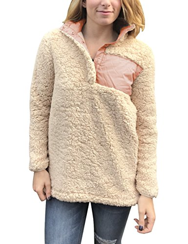 Frosty Pebbles (MEROKEETY Women's Sherpa Pullover Pebble Pile Buttons Stand Collar Long Sleeve Sweatshirts Tops)