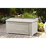 127 Gallon Light Taupe Resin Storage Seat Deck Box, 17 Cubic Feet Capacity Deck Box Stores Cushions, Yard Gear and More, Storage Tray for Small Items, Made Out of Stay-Dry Resin Construction