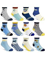 12 Pairs Kids Non Slip Skid Socks Grips Sticky Slippery Cotton Crew Socks For 1-3/3-5/5-7 Years Old Children Youth Boy Girl