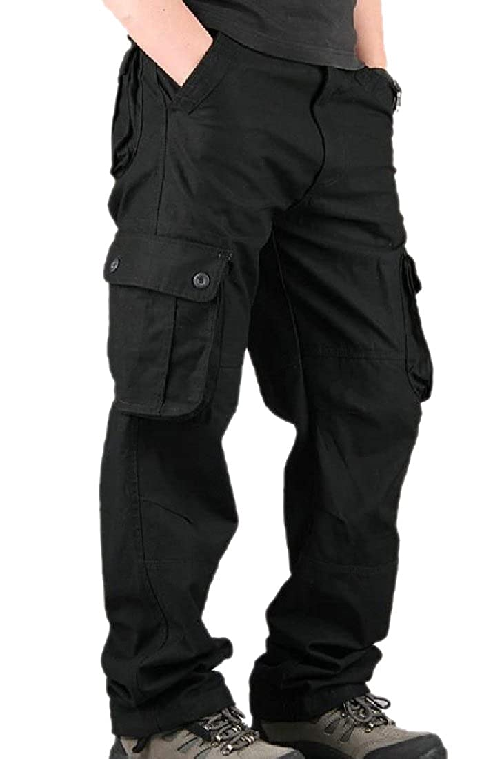 YUNY Men Tactical Casual Loose Messenger Western Outdoor Trousers Black 29