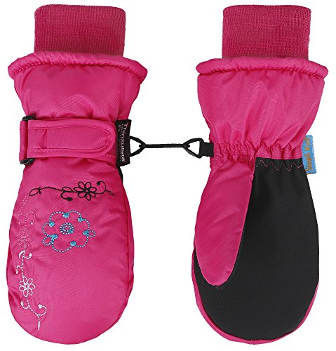 SimpliKids Girl's Thinsulate Waterproof Ski Mittens, Embroidered (Embroidered Mittens)