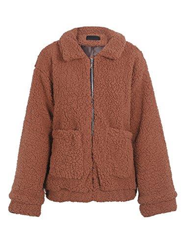 Simplee Women's Winter Warm Loose Oversized Fleece Jacket Coat Outwear Plus Size Brown