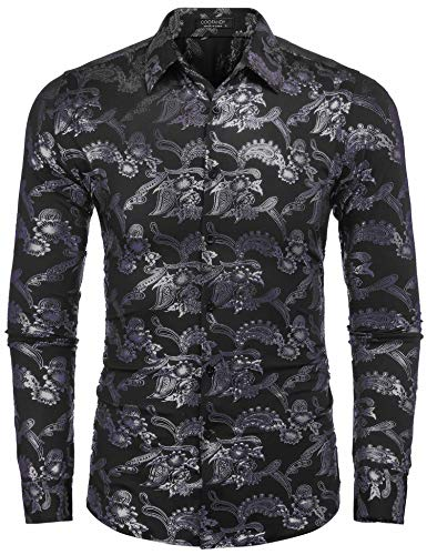 COOFANDY Mens Paisley Shirt Luxury Design Long Sleeve Slim Fit Button Down Shirts, Black, Large
