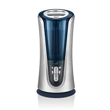 Cool & Warm Mist Tower Ultrasonic Humidifier | 1.5 Gallon Tank, 65 Hour Runtime, LCD Display, Humidity Sensor | Clean Tank Technology, BONUS DEMINERALIZATION CARTRIDGE | HoMedics