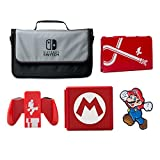 PowerA Everywhere Messenger Bag with Super Mario Classic Hybrid Cover, Joy-Con Comfort Grip, Premium Card Case & Collector Pin Kit - Nintendo Switch