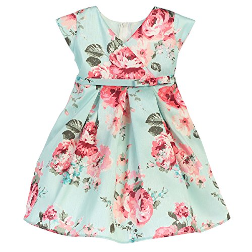 Pleated Crossover (Sweet Kids Baby Girls Mint Pink Floral Print Crossover Easter Dress 18M)
