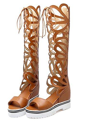 Talon Easemax Plateforme Brun Fashion Femme Romain Compensé Style Sandales rq7qtw