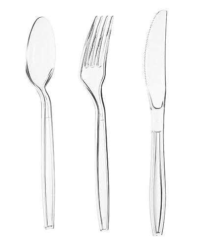 amazon com juvale heavy duty plastic silverware 180 piece clear