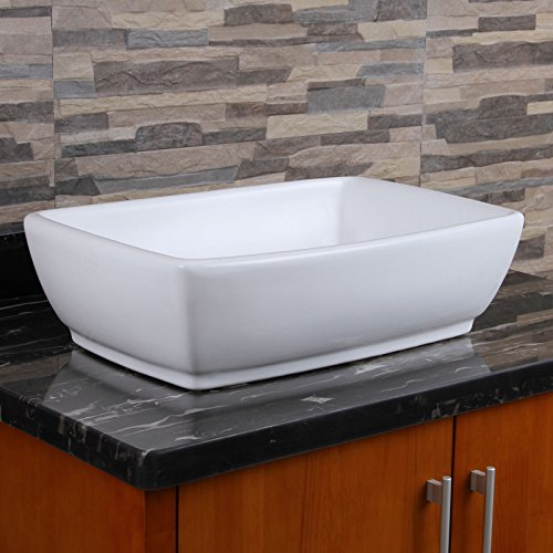 ELIMAX'S Unique Rectangle Shape White Porcelain Ceramic Bathroom Vessel - Rectangle Shape