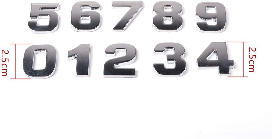 10Pcs DIY 3D Metallic Alphabet Sticker Car Emblem Letter Silver Badge Decal 0-9 Numeral